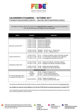 calendrier d`examens – octobre 2017