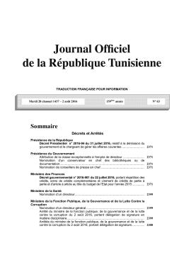 Télécharger la version française du dernier JORT en format PDF