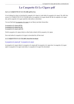 La Casquette Et Le Cigare pdf
