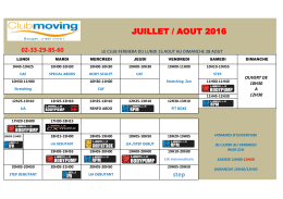 Planning des cours - Club Moving Alençon