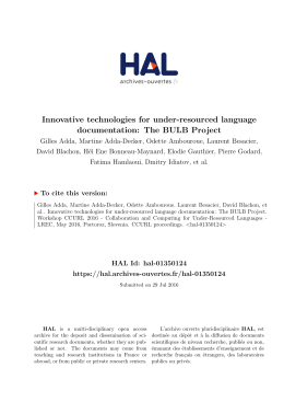 Innovative technologies for under-resourced language - HAL