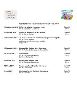 Randonnées Transfrontalières 2016 / 2017