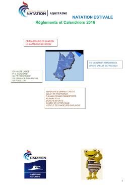NATATION ESTIVALE Règlements et Calendriers 2016