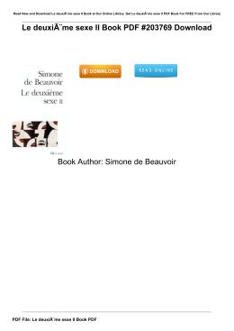 Le deuxième sexe II Book PDF #203769 Book Author