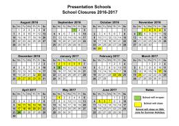 2016/17 School Calendar - Presentation Mullingar