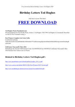 BIRTHDAY LETTERS TED HUGHES | Free Books PDF