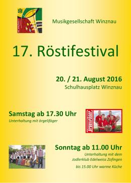 20. / 21. August 2016 Samstag ab 17.30 Uhr Sonntag ab 11.00 Uhr