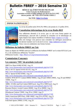 Bulletin F8REF – 2016 Semaine 33