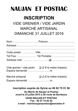 inscription vide grenier 2016