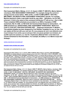 Example orm worksheet for pt usmc