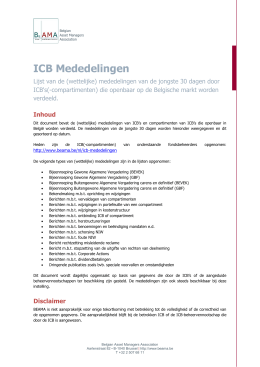 ICB Mededelingen - BEAMA - Belgian Asset Managers Association