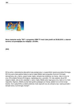 """Nove nastavke serije """"Elif"""" u programu OBN TV moći ćete pratiti od"""