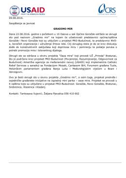 09.08.2016. Saopštenje za javnost GRADIMO