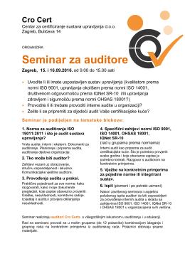 Seminar za auditore - Cro Cert – Centar za certificiranje sustava
