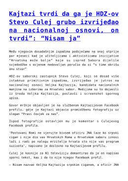 Kajtazi tvrdi da ga je HDZ-ov Stevo Culej grubo izvrijeđao