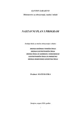 nastavni plan i program - Ministarstvo za obrazovanje, nauku i
