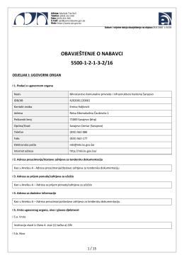 obavještenje o nabavci 5500-1-2-1-3-2/16
