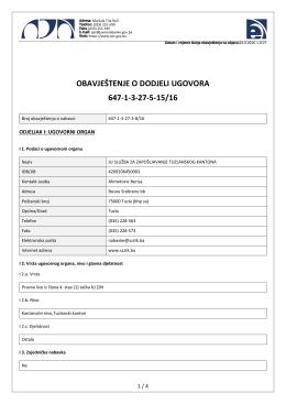 obavještenje o dodjeli ugovora 647-1-3-27-5-15/16
