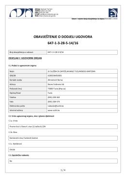 obavještenje o dodjeli ugovora 647-1-3-28-5-14/16