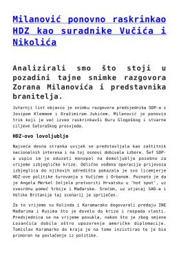 Milanović ponovno raskrinkao HDZ kao suradnike Vučića