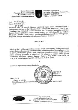 Odluka o izmjeni člana I Odluke 01-259 - MUP