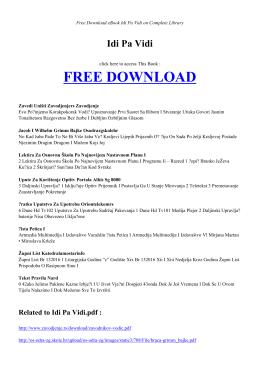 IDI PA VIDI | Free Book