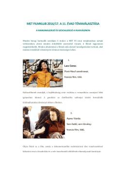 A MET Kispesti Filmklub tervezett programja