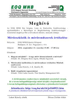 Meghívó - EOQ MNB