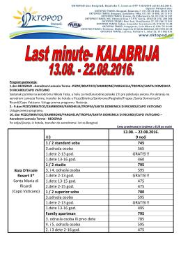 KALABRIJA last minute br.2 13.08.