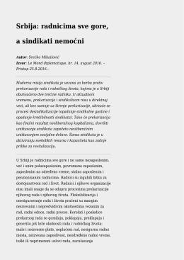Srbija: radnicima sve gore, a sindikati nemoćni