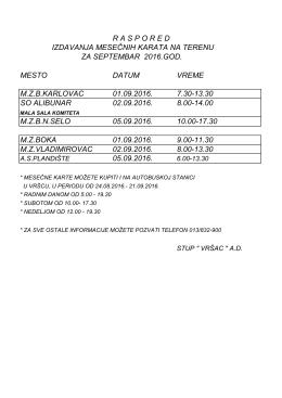 raspored izdavanja mesečnih karata na terenu za