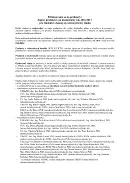 Zápisy predmetov na akademický rok 2016/2017