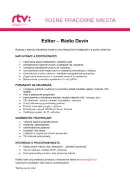 Editor – Rádio Devín