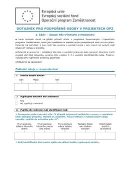 Dotazník pro cílovou skupinu při ukončení účasti v projektu
