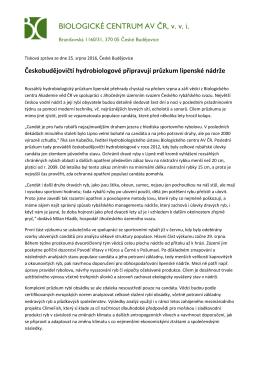Českobudějovičtí hydrobiologové připravují průzkum lipenské nádrže