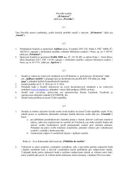 """Pravidla soutěže """"B-Smarter"""" (dále jen """"Pravidla"""") § 1 Tato Pravidla"""