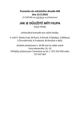 pozvánku do Městského divadla v Mladé Boleslavi