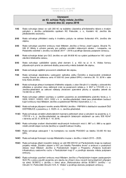 Usnesení ze 43. schůze Rady města Jevíčko konané dne 22. srpna
