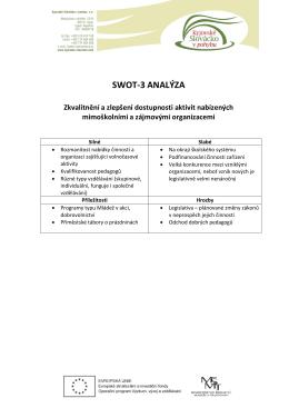 SWOT-3 analýza prioritních oblastí