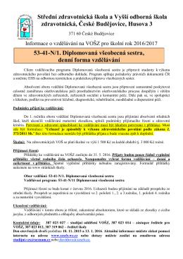 Diplomovaná všeobecná sestra - SZŠ a VOŠ zdravotnická České