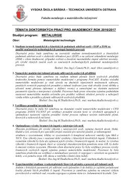 Témata doktorských prací pro akademický rok 2016/2017