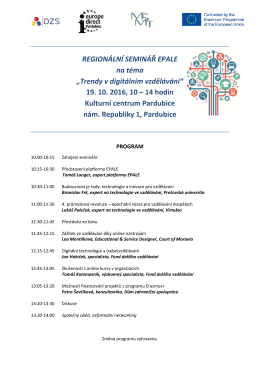 Program reg semináře EPALE - 19 10 2016 - Pardubice