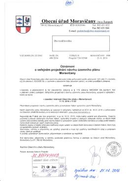Oznámení o veřejném projednání návrhu územního plánu Moravičany