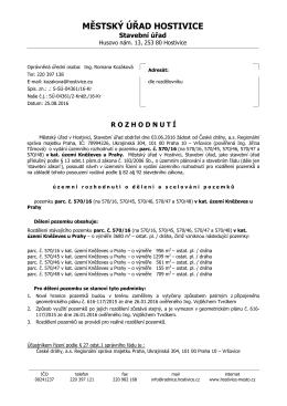 České dráhy ÚR - Rozhodnutí dělení pozemku _kněževes