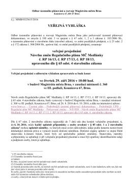 Odbor územního plánování a rozvoje Magistrátu