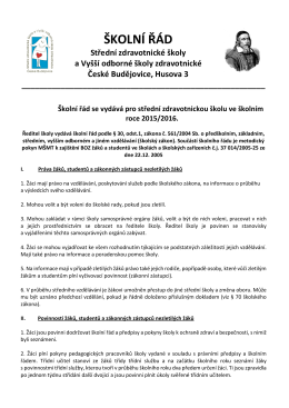 Školní řád - SZŠ a VOŠ zdravotnická České Budějovice