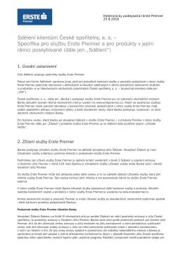 platné pro všechny klienty služby Erste Premier od 01.01.2017