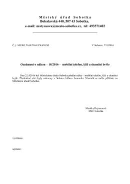 Oznámení o nálezu č. 18/2016 - mobilní telefon, klíč a