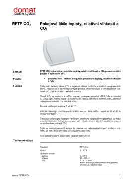 RFTF-CO2 Pokojové čidlo teploty, relativní vlhkosti a CO2
