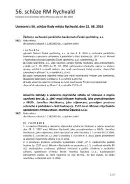 USNESENÍ z 56. schůze Rady města Rychvald (22.8.2016)